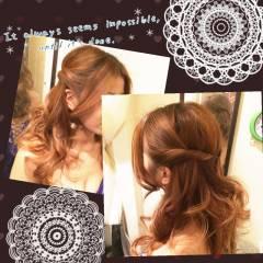 ストリート ツイスト 編み込み ハーフアップ ヘアスタイルや髪型の写真・画像