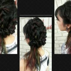 ヘアアレンジ 外国人風 ロング カラフルカラー ヘアスタイルや髪型の写真・画像