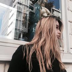 外国人風 ロング ハイライト モード ヘアスタイルや髪型の写真・画像