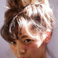お団子 ショート 簡単ヘアアレンジ ストリート ヘアスタイルや髪型の写真・画像