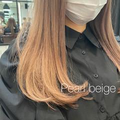 セミロング ベージュ ガーリー ミルクティーベージュ ヘアスタイルや髪型の写真・画像