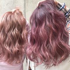 セミロング ラベンダー ピンク レッド ヘアスタイルや髪型の写真・画像