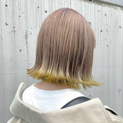 フェミニン 裾カラー 艶カラー ミニボブ ヘアスタイルや髪型の写真・画像