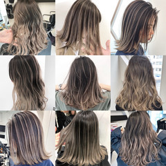 グラデーションカラー バレイヤージュ ロング ミルクティーベージュ ヘアスタイルや髪型の写真・画像