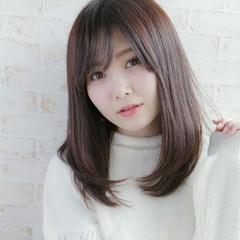 髪質改善 髪質改善トリートメント 艶髪 セミロング ヘアスタイルや髪型の写真・画像