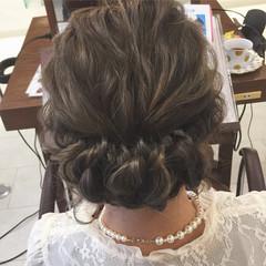 グラデーションカラー ヘアアレンジ セミロング 結婚式 ヘアスタイルや髪型の写真・画像