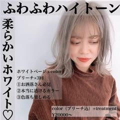 ミディアム レイヤーロングヘア ハイトーン フェミニン ヘアスタイルや髪型の写真・画像