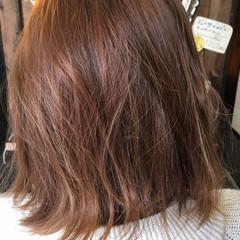 ボブ ピンク ベージュ ミディアム ヘアスタイルや髪型の写真・画像