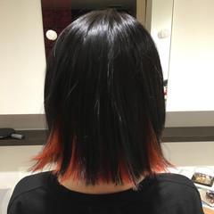 インナーカラー オレンジ ボブ 暗髪 ヘアスタイルや髪型の写真・画像