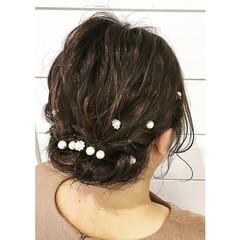 ヘアアレンジ ゆるふわ 暗髪 フェミニン ヘアスタイルや髪型の写真・画像