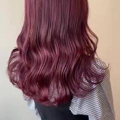ブリーチなし 韓国ヘア ピンクアッシュ セミロング ヘアスタイルや髪型の写真・画像