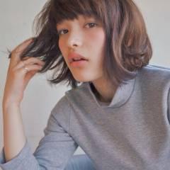暗髪 ガーリー ナチュラル ショート ヘアスタイルや髪型の写真・画像