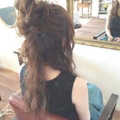 ゆるふわ 結婚式 お団子 ロング ヘアスタイルや髪型の写真・画像