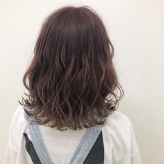 ヘアアレンジ グラデーションカラー ガーリー ミディアム ヘアスタイルや髪型の写真・画像