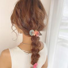 ロング 編みおろし 編みおろしヘア ヘアアレンジ ヘアスタイルや髪型の写真・画像
