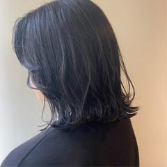 ダークグレー ブルーブラック ミニボブ モード ヘアスタイルや髪型の写真・画像
