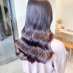 韓国ヘア ナチュラル ラベンダーグレージュ ミルクティーグレージュ ヘアスタイルや髪型の写真・画像