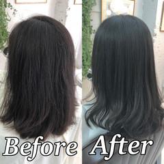 縮毛矯正 髪質改善トリートメント ミディアム 髪質改善 ヘアスタイルや髪型の写真・画像