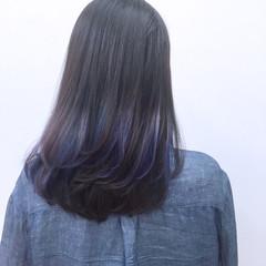 暗髪 セミロング アッシュ インナーカラー ヘアスタイルや髪型の写真・画像