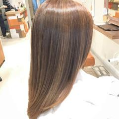 バレイヤージュ 外国人風カラー セミロング 透明感 ヘアスタイルや髪型の写真・画像