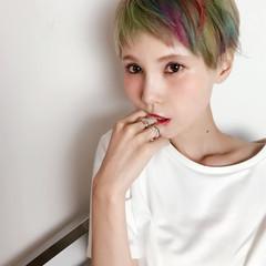 カラフルカラー ハイライト ハイトーン モード ヘアスタイルや髪型の写真・画像