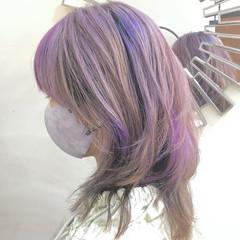 インナーカラー ハイライト ストリート ミディアム ヘアスタイルや髪型の写真・画像
