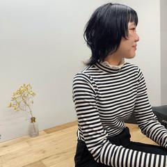 ウルフ女子 ウルフ 黒髪 ストリート ヘアスタイルや髪型の写真・画像