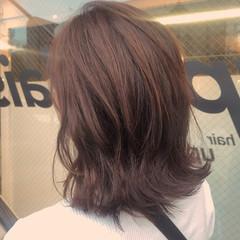 透明感 ナチュラル ロブ ラベンダーアッシュ ヘアスタイルや髪型の写真・画像