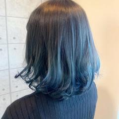 ブルー ブルーグラデーション ボブ グラデーションカラー ヘアスタイルや髪型の写真・画像