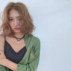 外国人風 ミディアム ハイライト ストリート ヘアスタイルや髪型の写真・画像