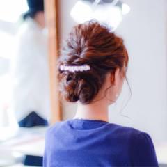 波ウェーブ ミディアム 編み込み パーティ ヘアスタイルや髪型の写真・画像
