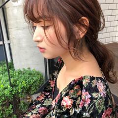 ポニーテール ウェットヘア 鎖骨ミディアム 簡単ヘアアレンジ ヘアスタイルや髪型の写真・画像