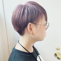 ショート ラベンダーアッシュ ラベンダーピンク ピンクラベンダー ヘアスタイルや髪型の写真・画像
