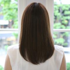 パーマ セミロング 大人女子 ストレート ヘアスタイルや髪型の写真・画像