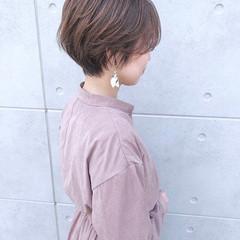 ブラウンベージュ ハンサムショート ベージュ ショート ヘアスタイルや髪型の写真・画像