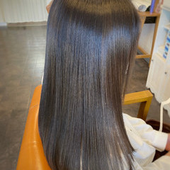 ナチュラル 縮毛矯正 トリートメント セミロング ヘアスタイルや髪型の写真・画像