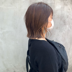 極細ハイライト ボブ 圧倒的透明感 オリーブカラー ヘアスタイルや髪型の写真・画像