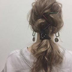 ミディアム ポニーテール ショート 女子会 ヘアスタイルや髪型の写真・画像