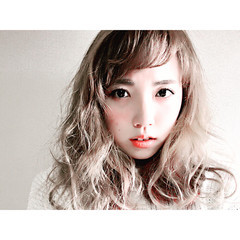 フェミニン セミロング 外国人風 ゆるふわ ヘアスタイルや髪型の写真・画像