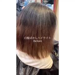 インナーカラー 大人ハイライト 髪質改善 白髪染め ヘアスタイルや髪型の写真・画像