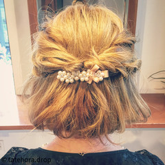ルーズ 結婚式 ゆるふわ 簡単ヘアアレンジ ヘアスタイルや髪型の写真・画像