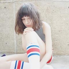 アッシュ ストリート パーマ ミディアム ヘアスタイルや髪型の写真・画像