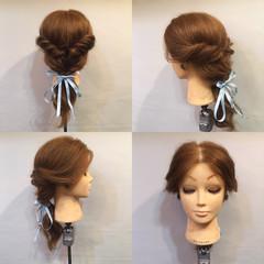 くるりんぱ ヘアアレンジ フェミニン セミロング ヘアスタイルや髪型の写真・画像