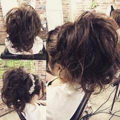 デート アップスタイル セミロング ヘアアレンジ ヘアスタイルや髪型の写真・画像