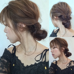 エレガント デート ウェーブ くるりんぱ ヘアスタイルや髪型の写真・画像