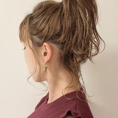 ポニーテールアレンジ ヘアアレンジ ミディアム ポニーテール ヘアスタイルや髪型の写真・画像
