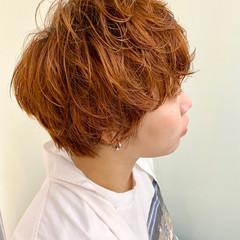 オレンジ アプリコットオレンジ オレンジベージュ ブラットオレンジ ヘアスタイルや髪型の写真・画像