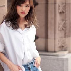 コンサバ セミロング 前髪あり 大人かわいい ヘアスタイルや髪型の写真・画像