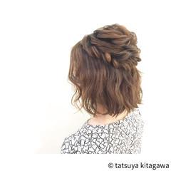 ゆるふわ ハーフアップ フェミニン 二次会 ヘアスタイルや髪型の写真・画像