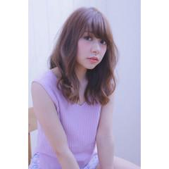 グラデーションカラー ガーリー ミディアム ピンク ヘアスタイルや髪型の写真・画像